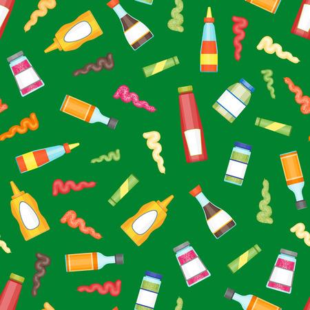 Cartoon sauces bottle seamless pattern background vector.