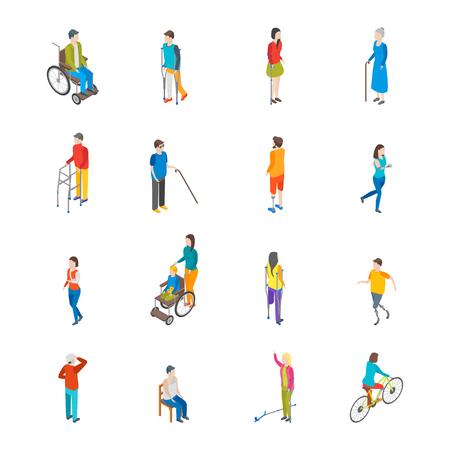 Insieme dell'icona di caratteri di persone disabili isometrica. Vettore
