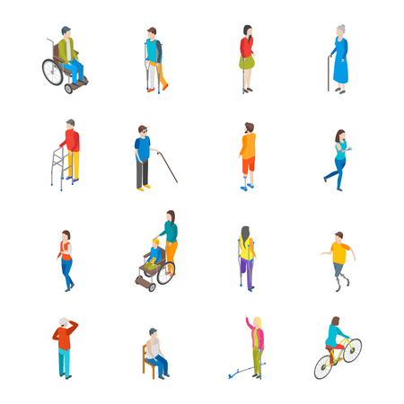 Isometric Disabled People Characters Icon Set. Vector Ilustração
