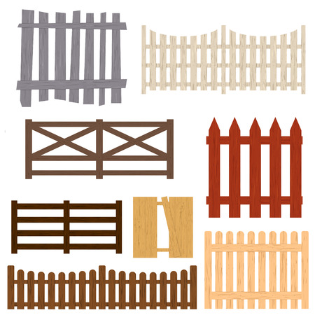 Cartoon Color Wooden Fence Set. Vector Illustration