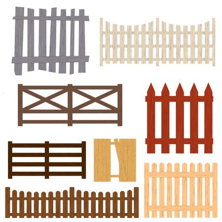 Cartoon Color Wooden Fence Set. Vector Vettoriali