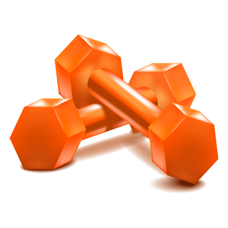 Realistic Detailed 3d Dumbbells Set Closeup View Isolated on White Background Sport Element. Vector illustration of Fitness Dumbbell