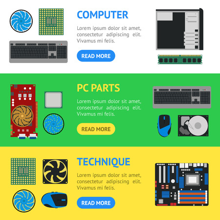 Cartoon PC Components Or Parts For Computer Store Banner Card