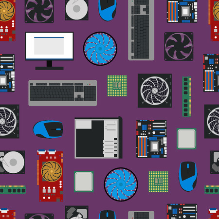 Cartoon PC Components and parts Seamless Pattern Background. Vector