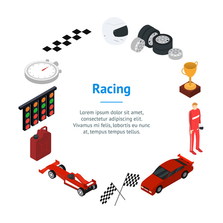 Racing Sport Banner Card Circle Isometric View. Vector