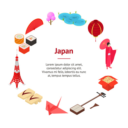 Symbol of Japan Banner Card Circle Isometric View. Vector Ilustração
