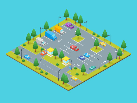 Parking Zone Concept 3d Isometric View vector