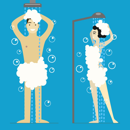 Cartoon Man and Woman Taking Shower. Vector