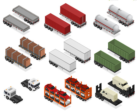 Different Types Trailers 3d Icons Set Isometric View vector. Ilustração