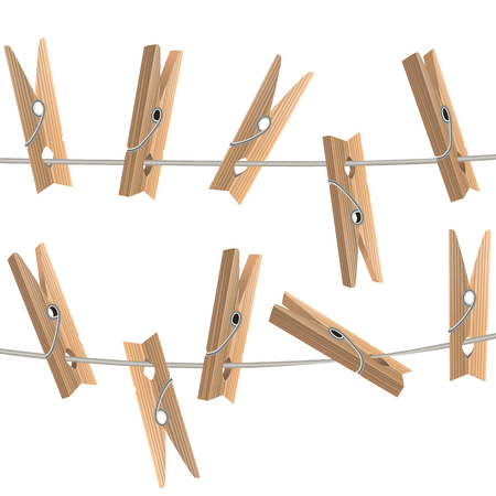 Realistic Detailed 3d Wooden Clothespins Vector Vettoriali