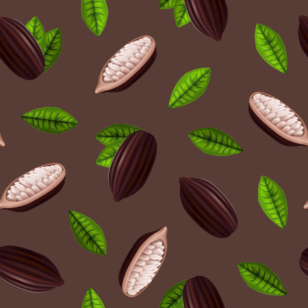 Realistic 3d Cocoa Beans Seamless Pattern Background. Vector illustration. 일러스트