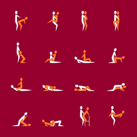 Dibujos animados diferentes poses de sexo o posición pareja conjunto. Vector Foto de archivo