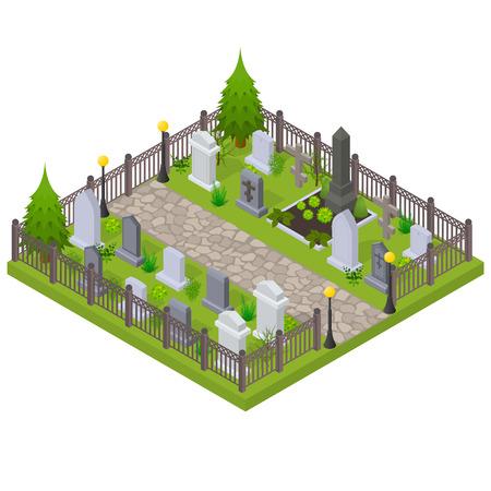 Begraafplaats Concept 3d isometrische weergave. Vector Vector Illustratie