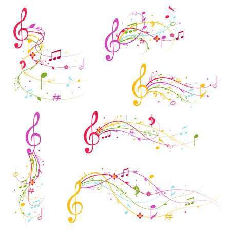Cartoon Decoration Elements Musical Color Set. Vector 向量圖像