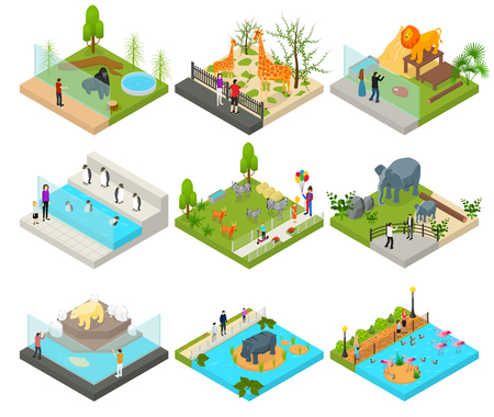 Public Zoo Set Concept 3d Isometric View. Vector