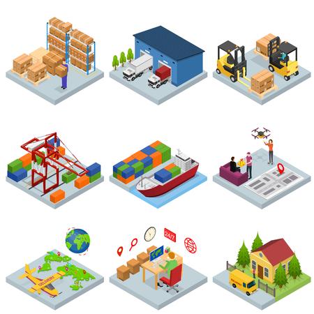 différents types entrepôt icônes 3d mis isométrique . vecteur