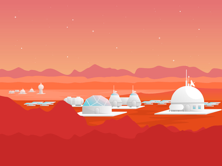 Cartoon Mars Colonization Card Poster. Vector