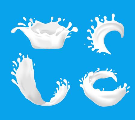 Realistic Detailed 3d Milk Splash Set. Vector