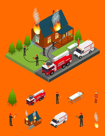 Firefighters Extinguish Fire at House and Elements Part Isometric View. Vector