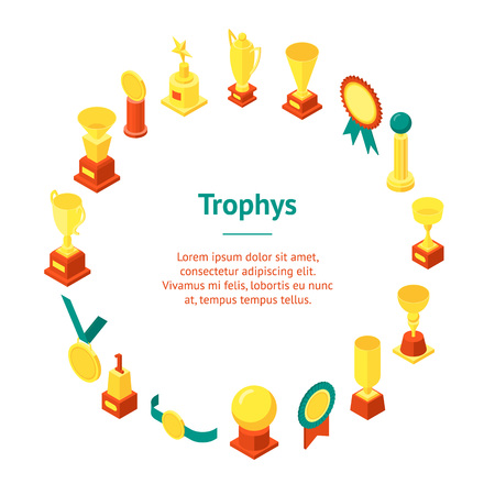 Trophy Cups Awards Banner Card Circle Isometric View.