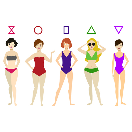 Cartoon Woman Body Shape Different Types Set. Vector