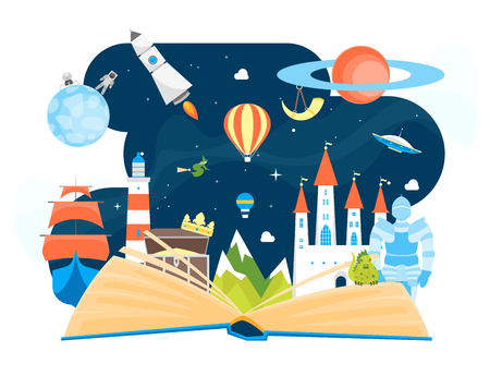 Cartoon Imagination Concept Open Book Element Flat Design Style Include of Rocket, Sky, Balloon and Star. Vector illustration Vectores