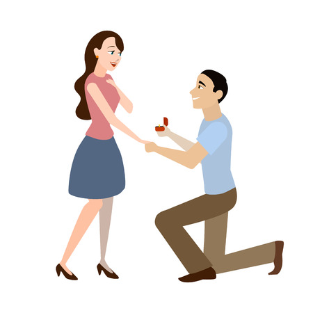 Cartoon Offer of Marriage Man and Woman Romantic Relationship Concept Element Flat Design Style. Vector illustration of Proposal Vettoriali