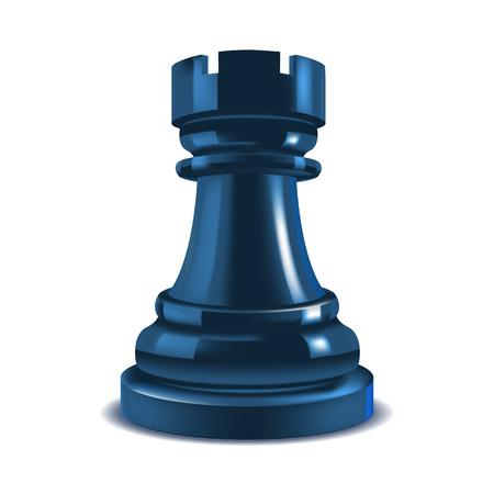 Realistic 3d Chess Rook. Vector Çizim
