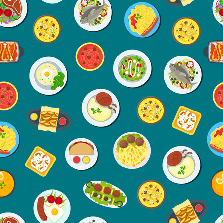 Cartoon Home Cooking Healthy Foods Dishes Menu Seamless Pattern Background. Vector