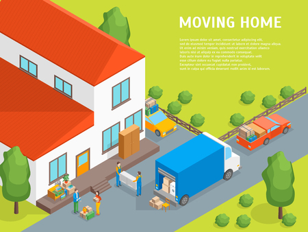 Delivery Moving Card Poster Concept 3d Isometric View. Vector
