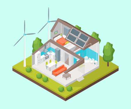 Solar Cell System in Home Concept 3d Isometric View. Vector