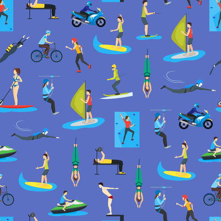 Cartoon Extreme Sports People Seamless Pattern Background Activity Lifestyle Concept Include of Sailing, Skating, Cycling Flat Design Style. Vector illustration of Sport Signs Vettoriali