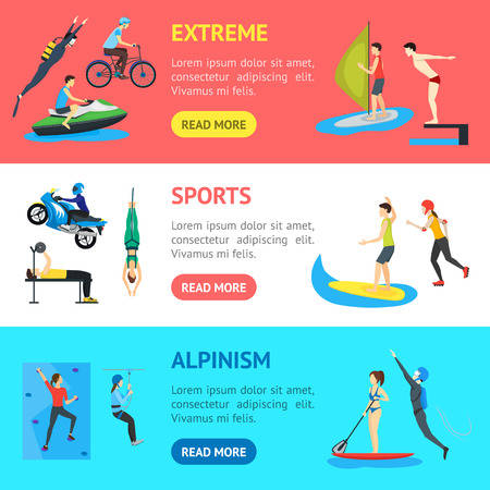 Cartoon Extreme Sports People Banner Horizontal Set Activity Lifestyle Concept Include of Sailing, Skating, Cycling Flat Design Style. Vector illustration of Sport Signs Illustration