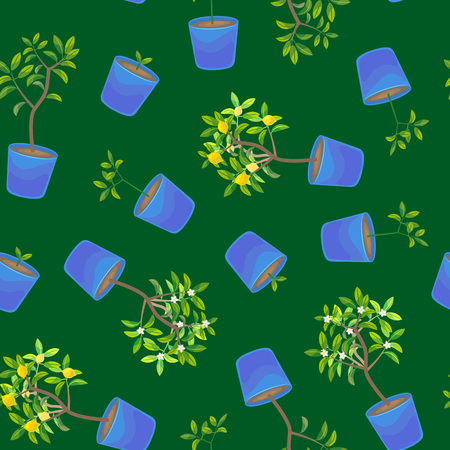Plant Growing Lemon Tree in Pot Seamless Pattern Background. Vettoriali