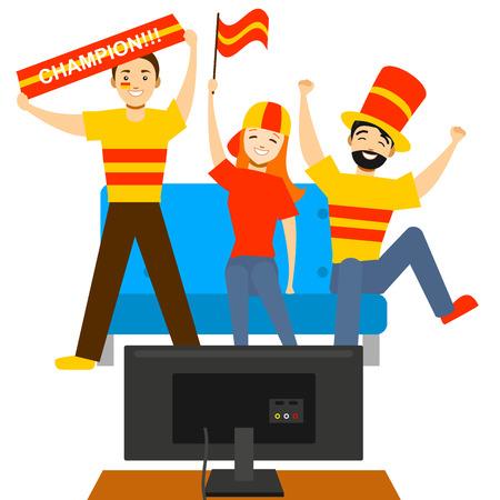 Gente de aficionados al deporte de dibujos animados frente a Tv. Vector
