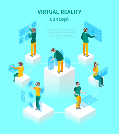 Virtual Reality Glasses Concept with People 3d Isometric View. Vector Stock Photo