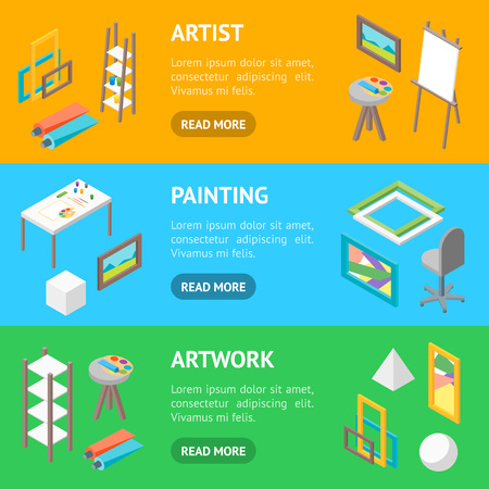 Artist Workplace Interior with Furniture Banner Horizontal Set Isometric View Professional Community, Studio or Coworking Center for Creative Artist. Vector illustration