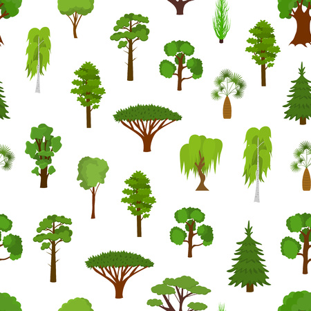 Different Green Tree Types Seamless Pattern Background. Vector