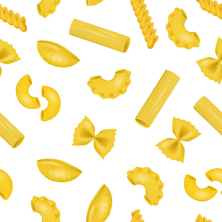 Realistic Detailed 3d Dry Macaroni of Various Pasta Seamless Pattern Background. Vector