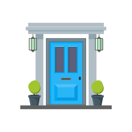 Cartoon Blue Front Door of House. Vector