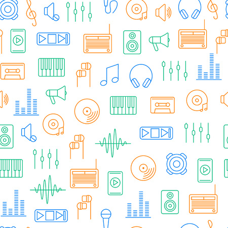 Acoustics and Sound Seamless Pattern Background. Vector Illustration