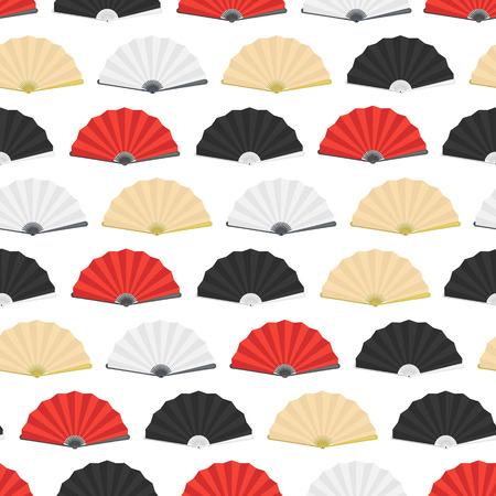Japanese Folding Paper Fan Seamless Pattern Background. Vector illustration.