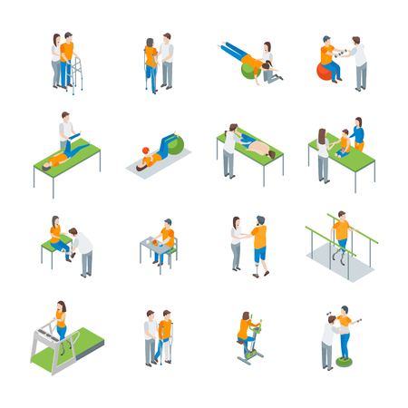 Physiotherapy People 3d Icons Set Isometric View. Vector Illustration