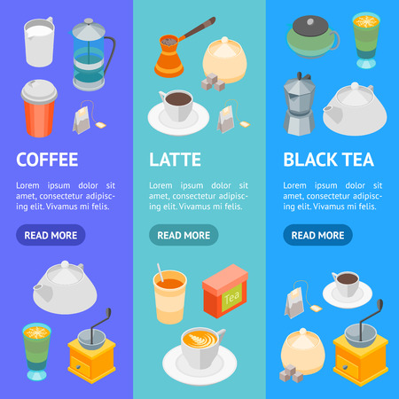 Tea and Coffee Banner Vecrtical Set 3d Isometric View. Vector