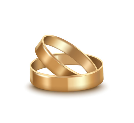 Realistic Detailed Golden Wedding Rings. Vector