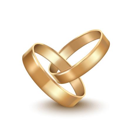 Golden Wedding Rings Illustration