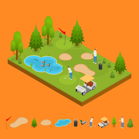 Golf Composition Concept and Elements Part 3d Isometric View. Vector