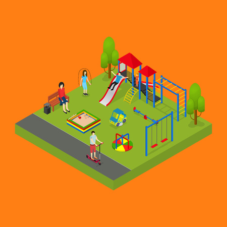 City Public Park or Square Object 3d Isometric View with Playground. Vector illustration of Concept Relaxation Illustration