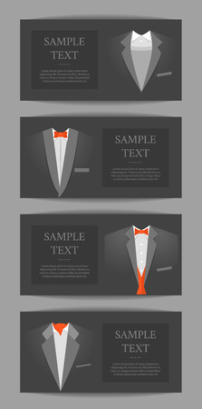 Cartoon Business Card with Suits and Tuxedo Banner Horizontal Set Concept Flat Design Style for Invitation. Vector illustration Illusztráció