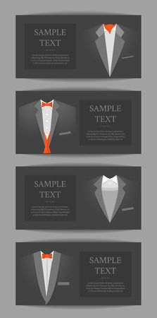 Cartoon Business Card with Suits and Tuxedo Banner Horizontal Set Official Ceremony Concept for Invitation. Vector illustration